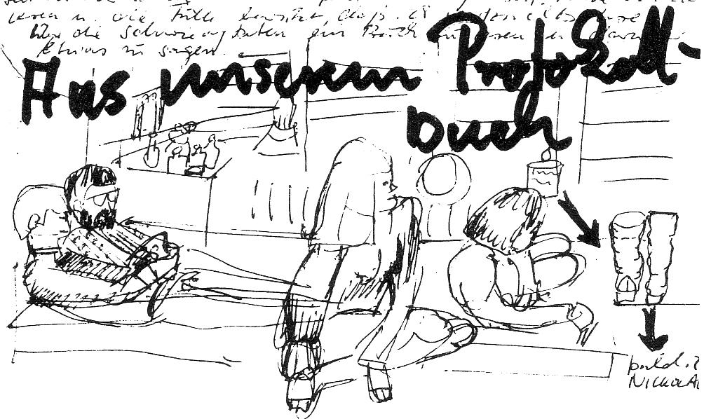 Zeichnung aus dem Protokollbuch der Kommune 2